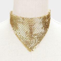 "12"" gold sequin mesh bandana choker collar necklace 4"" wide"