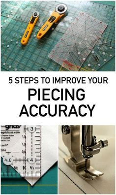 Sewing Quilts Quilting instructor Amy Gibson shares 5 basic steps you can take to help improve your quilt piecing accuracy. - Quilting instructor Amy Gibson shares 5 basic steps you can take to help improve your quilt piecing accuracy. On Craftsy! Quilting Tools, Quilting Tutorials, Machine Quilting, Quilting Projects, Quilting Ideas, Triangle Quilt Tutorials, Crazy Quilt Tutorials, Hand Quilting Designs, Modern Quilting