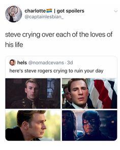 Steve crying over Bucky, Peggy, Tony, and Natasha😥 Marvel Funny, Marvel Avengers, Marvel Comics, Avengers Memes, Marvel Memes, Bucky And Natasha, Captain America And Bucky, Steve And Tony, Romanogers