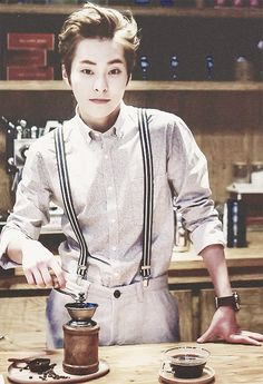 Xiumin.. I'd want him to make me tea or coffee everyday dressed just like this :D