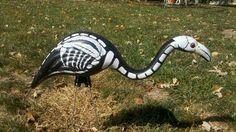 Skeleton lawn flamingo for Halloween