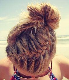 Easy gym or beach braided hairstyle