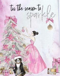 ♡ Chin Up, Princess♡ Christmas Sketch, Happy Christmas Day, Christmas In Paris, Shabby Chic Christmas, Christmas Fashion, Vintage Christmas Cards, Pink Christmas, Christmas Colors, Vintage Cards