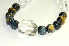 Blue Tigers Eye Necklace with Crystal Quartz  Beaded by ELEVEN13