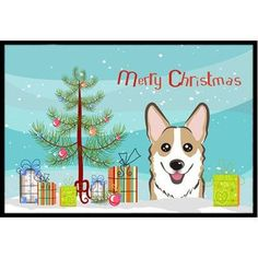 "Caroline's Treasures Christmas Tree Corgi Doormat Color: Sable, Rug Size: 1'6"" x 2'3"""