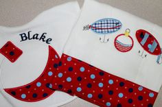 Embroidered and Appliqued Fishing Burp Cloth by AppliquesByGranjan, $30.00
