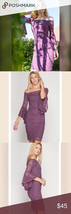 Ruffled Sleeve Lace Bodycon Dress 3/4 ruffled bell sleeve, scalloped neckline, lined, stretch fabric. Beautiful dusty purple color.  70% cotton, 30% polyester. She and Sky Dresses Strapless