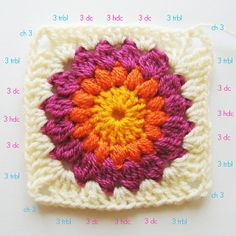 Crochet Granny Squares Blanket Nittybits: Sunburst Granny Square Blanket Tutorial- and then when the basic granny square is mastered I will be attempting this beauty. I love these colors! Crochet Motifs, Granny Square Crochet Pattern, Crochet Squares, Granny Square Tutorial, Double Crochet, Crochet Stitches, Crochet Crafts, Crochet Yarn, Crochet Projects