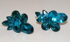 Huge Vintage Blue clip Earrings by beadladybeads1 on Etsy, $32.99