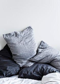 black, white and grey bedding