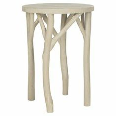 LIVING ROOM Eco-friendly bayur wood end table with branch-inspired legs. Product: End tableConstruction Material: Bayur woodColor: Pearl taupeFeatures: Eco-friendlyDimensions: H x Diameter Wood End Tables, Wood Table, Console Tables, Furniture Decor, Painted Furniture, Farmhouse Furniture, Living Room Sofa, Living Rooms, Rustic Chic