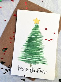Painted Christmas Cards, Simple Christmas Cards, Christmas Card Crafts, Homemade Christmas Cards, Christmas Greeting Cards, Greeting Cards Handmade, Reindeer Christmas, Christmas Sentiments, Christmas Lights