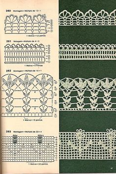 Check out the diagrams and learn to make more than 150 points, (crochet edgings) with images. There are several crochet borders that can be applied in various crochet projects. Choose your favorites… Crochet Edging Patterns, Crochet Lace Edging, Crochet Motifs, Crochet Borders, Crochet Diagram, Crochet Chart, Thread Crochet, Crochet Trim, Crochet Designs