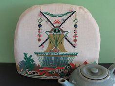 Large Cross Stitch Dutch Windmill Teapot Tea by FlashbackFinds
