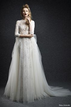 ersa atelier bridal fall 2015 panthea long sleeve lace wedding dress mermaid a line tulle overlay skirt