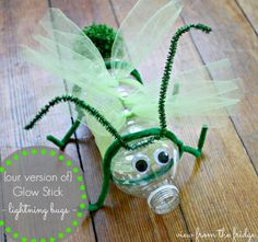 Fun Craft for Blackout Night. Make in the Sparks Reward Room and add a glow stick inside the bottle. Neon Crafts, Vbs Crafts, Camping Crafts, Insect Crafts, Insect Art, Glow Stick Crafts, Projects For Kids, Crafts For Kids, Plastic Bottle Crafts