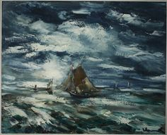 Maurice de Vlaminck (French, 1876-1958), Marine et voiliers. Oil on canvas, 23.6 x 28.7 in.