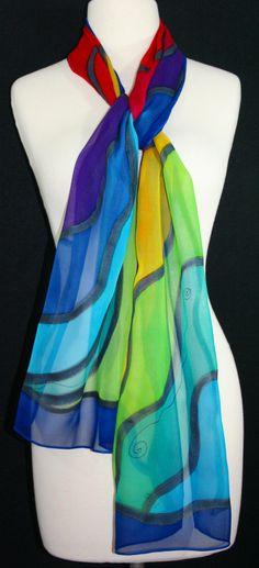 Blue Silk Scarf Handpainted. Red Yellow by SilkScarvesColorado