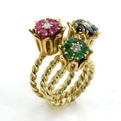 Hammerman brothers vintage ruby & diamond 18k gold flower ...