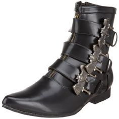 "Pleaser Men's Brogue-07 Pull-On Boot Pleaser. $38.53. Polyurethane. Color Description: Blk Nappa Pu. HEEL and PLATFORM: 1"" Heel; Size Range: Men's 8-13.. Polyurethane. Manmade sole"