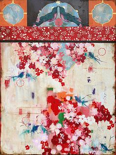 """Kathe Fraga paintings, inspired by the romance of vintage Paris and Chinoiserie Ancienne. """"Memories of Paris"""", 36x48 on frescoed canvas. www.kathefraga.com #floral #botanical #art"""