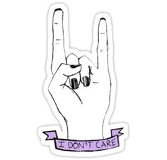 "tumblr stickers | Dont Care' Rock On Tumblr Hand Symbol"" Stickers by sadeelishad ..."