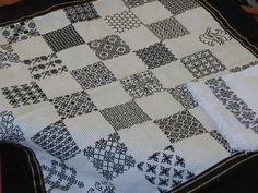 Blackwork chessboard.  The towel is also very pretty.
