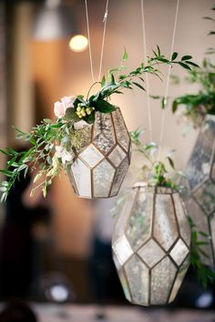 geometric lanterns wedding decor - photo by Kaitie Bryant Photography / http://www.deerpearlflowers.com/terrarium-geometric-details-ideas/4/