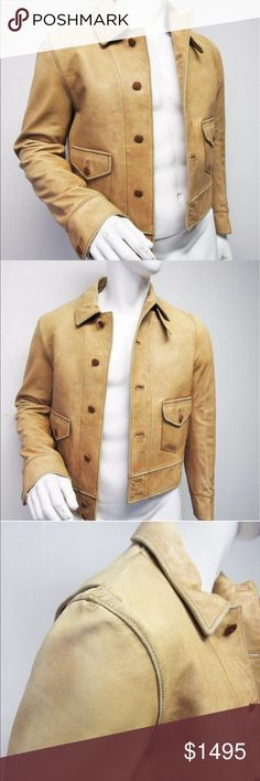 "✨💫men's leather tan Jacket ✨💫 Polo Ralph Lauren men's tan jacket. Retail $2,858. 100% Lambskin. Chest: 21"", waist: 19.5"", length: 22.5"", sleeve: 26"", shoulder: 17"" Jackets & Coats Bomber & Varsity"