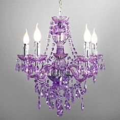chandelier purple. Wondering outloud, if I bought an old one from a thrift store, could I spray paint it and dangle purple beads and crystals to imitate this look?
