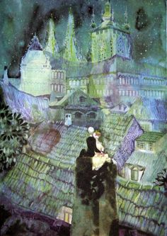Illustration for The Shepherdess and the Chimney Sweep by Jiri Trnka