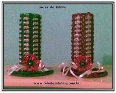 Blog de celeste :Minhas  Artes  Diversas, Velas de Natal feitas com Lacre de Latinhas