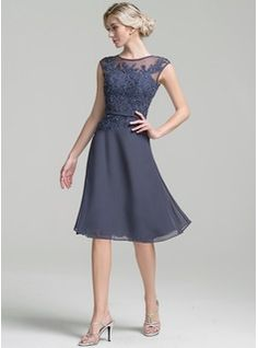 A-Line/Princess Scoop Neck Knee-Length Beading Sequins Zipper Up Cap Straps Sleeveless Yes Other Colors General Plus Chiffon Mother of the Bride Dress