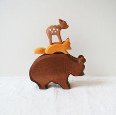 Ostheimer wooden animals. Deer, fox and Bear