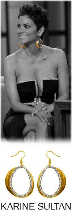 CHLOE gold earrings worn by Halle Berry By Karine Sultan