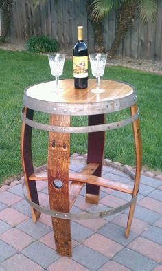 Table made from a upcycled wine barrel.