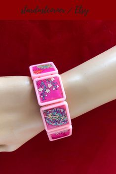 Cuff stretchable pink bracelet with floral collage Can Opener, Handmade Jewelry, Collage, Hair Accessories, Group, Bracelets, Board, Floral, Pink