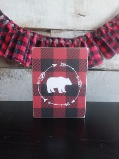 Buffalo Plaid BEAR Mini Sign, Adventure Series Mini Signs, Tiered Tray Decor, Shelf Decor Fabric Garland, Patriotic Decorations, Tray Decor, Buffalo Plaid, Rustic Decor, Fall Decor, Shelf, Hudson River, Bear