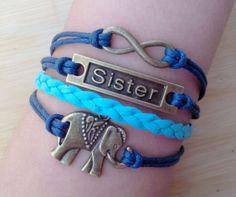 Sister braceletelephant bracelet anchor by TheBraceletGift on Etsy, $4.99