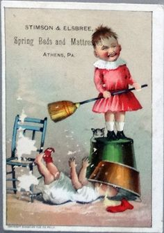 Stimson & Elsbree Comical Vintage Trade Card, Athens PA, Bad Child and Baby Sibling, Sunshine Pub Co, Phila.