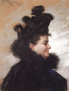 Retrato Emilia Pardo-Bazán por Joaquín Vaamonde Cornide (1896)