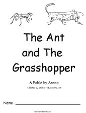 The Ant and the Grasshopper: A Fable by Aesop, A Printable Book for Early Readers - EnchantedLearning.com