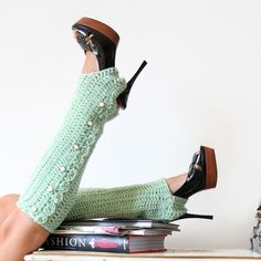 Crochet Leg Warmers with Stirrups and Buttons