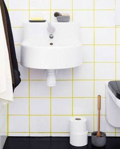 Colored Grout Yellow With White Tile