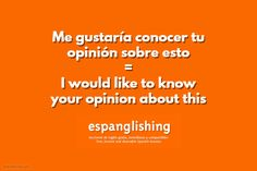 Espanglishing | free and shareable Spanish lessons = lecciones de Inglés gratis y compartibles: Me gustaría conocer tu opinión sobre esto = I would like to know your opinion about this