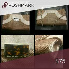 Elaine Turner clutch/shoulder purse Beautiful Bronze bag some wear on corners with gold chain strap elaine turner Bags Clutches & Wristlets