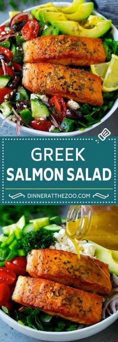 Greek Salmon Salad Recipe | Low Carb Salmon Recipe | Salmon Salad #salmon #seafood #fish #lowcarb #keto #lunch #dinneratthezoo #healthy Salad Recipes Low Carb, Salmon Salad Recipes, Lunch Recipes, Seafood Recipes, Dinner Recipes, Healthy Recipes, Salmon Dressing Recipe, Healthy Meals, Salmon Meals