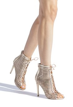 Dressy woven caged stiletto shootie with front lace up detail, open toe, and functional back zip. Hot High Heels, High Heel Boots, Womens High Heels, Heeled Boots, Shoe Boots, Tie Heels, Lace Up Heels, Pumps Heels, Women's Shoes Sandals