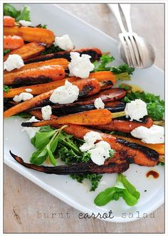 burnt carrot salad with with balsamic and goat cheese