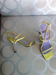 STUART WEITZMAN Sz 7 7.5 Lime Green Ankle Strap Sandals #StuartWeitzman #AnkleStrap